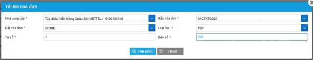 Cửa sổ thực hiện lưu trữ hóa đơn