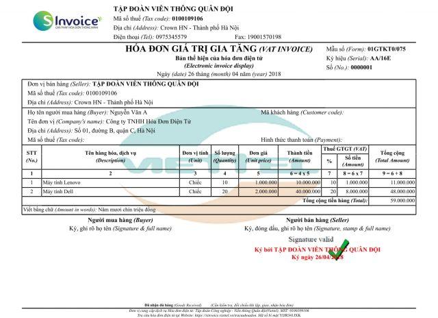 Hóa đơn điện tử Viettel S-invoice dạng văn bản