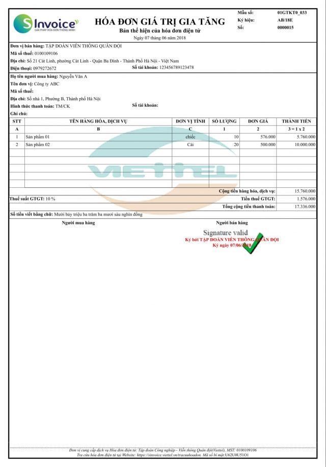Bản thể hiện hóa đơn GTGT của hóa đơn điện tử