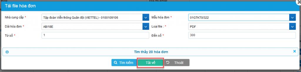 Cửa sổ Tải file hóa đơn sai khi chọn hóa đơn muốn tải