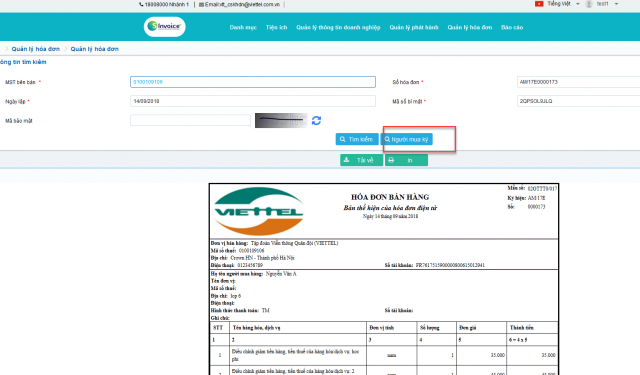 Kết quả tra cứu hóa đơn điện tử trên S-invoice