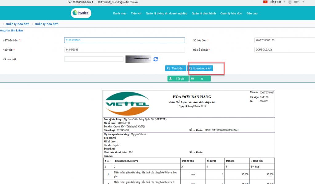 Một kết quả tìm kiếm hóa đơn điện tử được hiển thị trên giao diện S-invoice