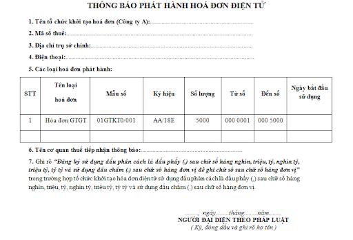Mẫu số 02: Thông báo phát hành hóa đơn điện tử