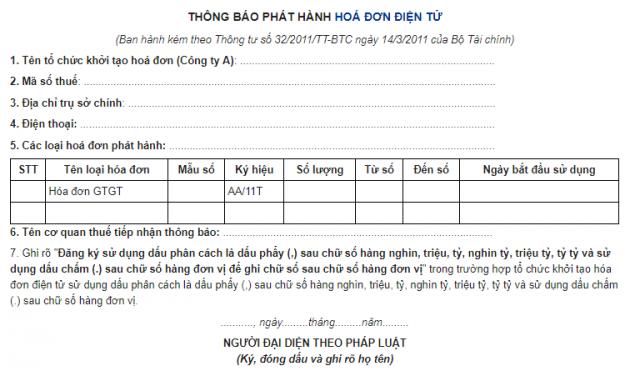 Mẫu Thông báo phát hành hóa đơn điện tử